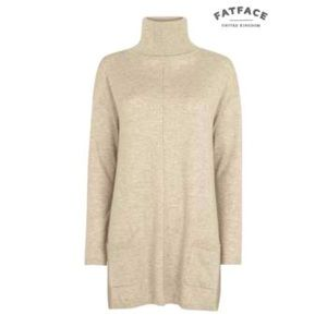 FatFace Flared Turtleneck Sweater with Pockets